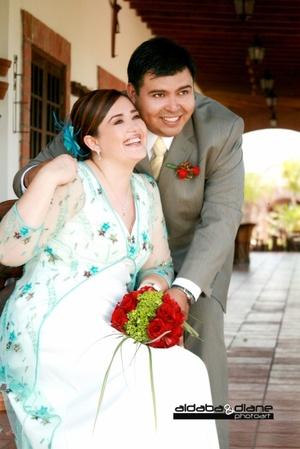 Srita. Carmina Celaya García, unió su vida a la del Sr. Gerardo Vallejo Moreno.   <p> <i>Aldaba & Diane Fotografía </i>