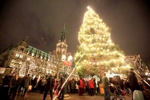 Abeto noruego, regalado por la ciudad de Trondheim, que ilumina el mercado navideño de Hamburgo, Alemania.