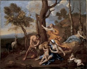 Reproducción fotográfica de la obra de Nicolas Poussin, titulada La infancia de Júpiter (1636-37), la cual forma parte de las nueve obras de pintores europeos del siglo XVII y XVIII que se exponen en la Colección Frick de Nueva York (EU).