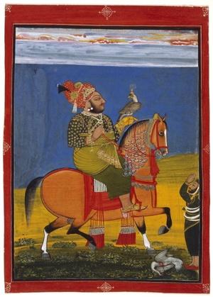 Kunwar Anop Singh de Devgarh a caballo con un halcón, atribuido a Bakhta, 1776, que forma parte de la exposición El retrato indio 1560-1860 que se inaugura en la National Portrait Gallery de Londres donde se muestra la rica y compleja historia de la India a partir de 60 retratos pintados durante tres siglos, entre el imperio Mughal del siglo XVI hasta la colonización británica del siglo XIX.