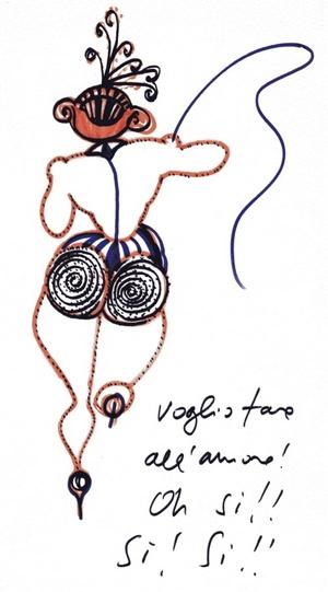'Mujer gato', uno de los muchos personajes que el director de cine italiano Federico Fellini imaginaba para sus películas y que nacieron, dibujados en un folio o una servilleta, en sus estancias en el Hotel Flora de Roma, que forma parte de la exposición del Marriott Grand Hotel Flora de Roma.