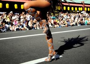 Con un desfile de tambores, pitos, carrozas y bailarinas japonesas que, con grandes plumas y pequeños tangas, se esforzaron por imitar el carnaval de Río.