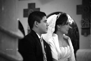 Srita. Mónica Máynez Castro y Sr. Jorge Luis Morán Estrada el día que contrajeron nupcias.-  <p> <i>Estudio Bravo</i>