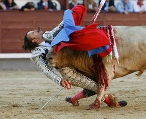 Imagen de la cornada que sufrió Julio Aparicio en Las Ventas el 21 de mayo de 2010 con la que el fotógrafo español Gustavo Cuevas, de la agencia EFE, ha conseguido el segundo premio, en la categoría de deporte, del certamen World Press Photo.