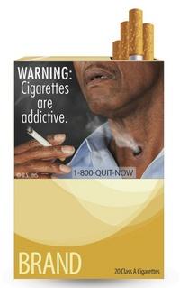Así, los fumadores pueden encontrar la frase los cigarrillos son adictivos junto a la imagen de un hombre que exhala el humo del tabaco a través de un agujero en la garganta.