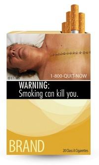 Otra de las cajetillas mostrará a un hombre con respiración asistida junto a una advertencia sobre las enfermedades pulmonares, mientras que en una tercera puede verse a un bebé al lado de una nube de humo.
