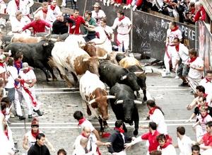 Los toros de la ganadería de Torrestrella inauguraron hoy en Pamplona (norte de España) los encierros de las populares Fiestas de San Fermín con una carrera limpia y rápida, en la que, fuera de las típicas caídas, no hubo heridos por asta de toro.