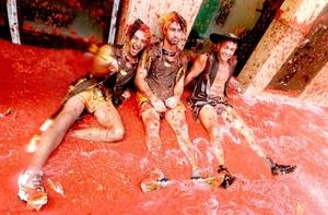 La tradición de esta fiesta data desde 1945, cuando en las fiestas populares de verano en el desfile de disfraces de cabezudos y gigantes, dos grupos arreglaron sus diferencias con los tomates de un puesto de verduras que estaba allí.