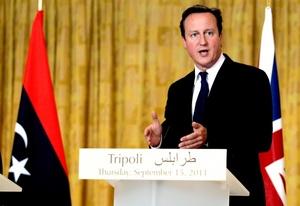 En una conferencia de prensa junto a Mustafá Abdul-Jalil, jefe del CNT, y el primer ministro Mahmud Jibril, Cameron y Sarkozy expresaron su respaldo al consejo.