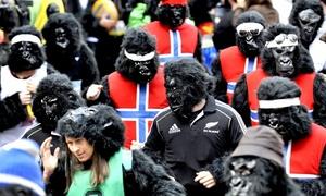 Algunos participantes caracterizaron sus disfrazes de gorila.
