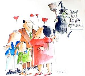 Fotografía donde se aprecia una familia felíz, creación de Ramón Cepero, que forma parte de la Asociación de Caricaturistas de Puerto Rico (ACPR).