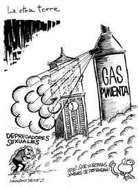Fotografía donde se observa una caricatura de Arturo Yépez, que forma parte de una exposición en contra de la violencia en Puerto Rico.