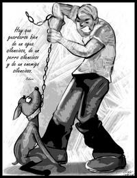 Fotografía donde se aprecia un hombre maltratando a un perro, caricatura de Gary Javier, que se exhibirá en el Archivo General de la isla, en el Viejo San Juan.