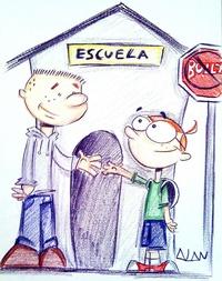 Fotografía en donde se observan niños en contra del bullying, una caricatura de Alan Villanueva Pérez que forma parte de una exposición con el propósito de expresar el rechazo a la violencia en Puerto Rico.