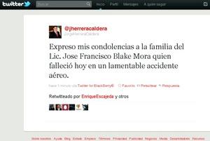 También el gobernador de Durango, Jorge Herrera Caldera, envió sus condolencias.