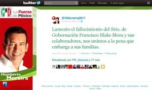 Humberto Moreira, líder nacional del Partido Revolucionario Institucional (PRI) lamentó el fallecimiento del secretario de Gobernación, Francisco Blake Mora, y de sus acompañantes.