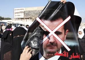 Manifestación en contra de Bachar al Asad
