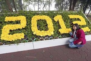Una joven posa durante el Festival de las Flores 2012, que se celebra alrededor del lago Hoan Kiem para dar la bienvenida al Año Lunar del Dragón, en el centro de Hanoi, Vietnam.