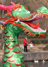 Linternas decorativas y máscaras en forma de dragón en un parque en Zhengzhou, fueron instaladas para celebrar el Festival de Primavera y cambio de año.