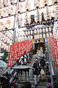 Ya casi llega el año chino, y varias personas visitan el templo Yagenbori Fudusan en Tokio para iniciar los festejos del año del dragón.