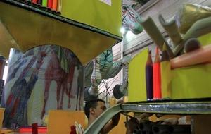 Aspecto de una carroza alegórica de la escuela de samba Mocidade Independente de Padre Miguel