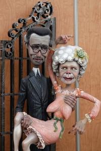 Unos ninots representando la boda de la duquesa de Alba se podrán ver como prólogo a las Fallas de Valencia 2012.