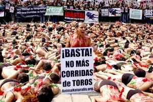 Un millar de activistas en favor de los derechos de los animales participaron hoy en una protesta en el centro de la capital mexicana para exigir la abolición de las corridas de toros.