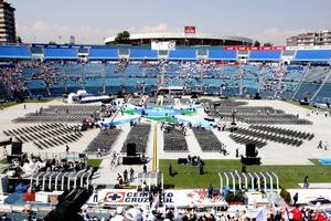 Desde temprana hora panistas fueron llenando el Estadio Azul para la toma de protesta.