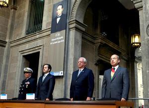 A la ceremonia en Palacio Nacional acudió, además, el presidente de la Suprema Corte de Justicia de la Nación (SCJN), Juan Silva Meza, así como el presidente del Senado, José González Morfín.