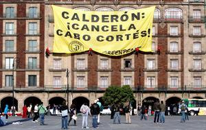 Activistas de la organización ambientalista Greenpeace se manifestaron en la Plaza de la Constitución para exigir que se cancele el proyecto turístico Cabo Cortés que, acusan, perjudicará la reserva marina de Cabo Pulmo.