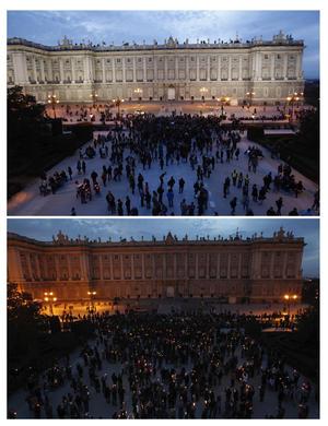 El Palacio Real iluminado de Madrid se unió a la celebración en contra del cambio climático.