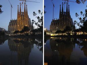En Barcelona, la Sagrada Familia apagó sus luces durante una hora.