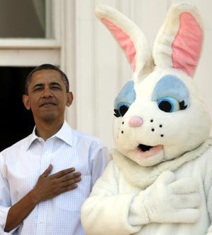 El presidente Barack Obama recibió al conejo de Pascua.