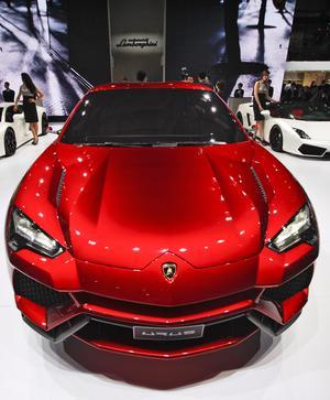 Vista del prototipo Lamborghini Urus el Salón del Automóvil de China.
