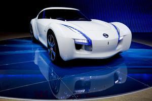Vista de un coche deportivo eléctrico Esflow de Nissan en el Salón del Automóvil de China, en Pekín.