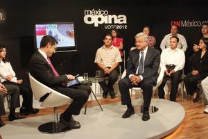 """Andrés Manuel López Obrador, participó en el programa """"México Opina, Voto2012"""", durante su campaña electoral."""