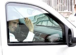 El candidato presidencial por el Partido Revolucionario Institucional (PRI), Enrique Peña Nieto, a su arribo