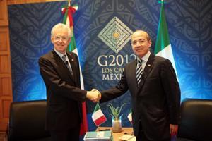 El presidente Felipe Calderón se reunió con el ministro italiano Mario Monti, en el marco de la reunión del G20.