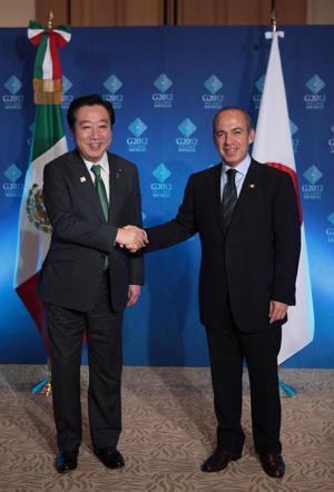 El presidente de México, Felipe Calderón durante la reunión bilateral con el primer ministro de Japón, el excelentísimo señor Yoshihiko Noda.