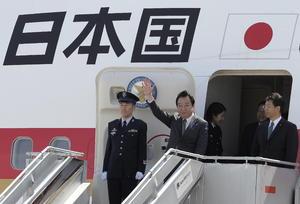 El primer ministro de Japón, Yoshihiko Noda a su llegada a Los Cabos para participar en la cumbre del G-20.