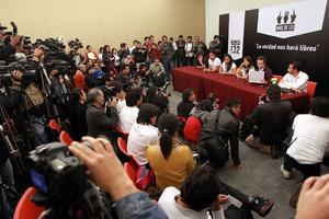 En rueda de prensa efectuada al término del evento, los jóvenes de #YoSoy132 consideraron que para ellos fue un día histórico.