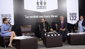 En el auditorio Digna Ochoa de la Comisión de Derechos Humanos del Distrito Federal estaban sentados para ser cuestionados por universitarios del movimiento #YoSoy132, los tres candidatos.