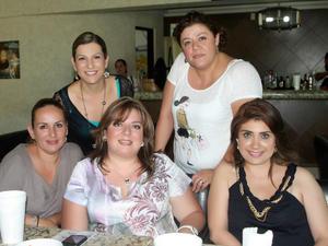 19092012 CONVIVENCIA.  Ana Borrego, Vane Villarreal, Isabel Maldini, Anel Romo y Juanita Covarrubias.