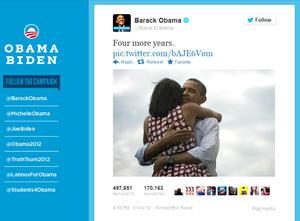 """Tras conocer su victoria, el presidente de EU, Barack Obama, publicó una fotografía en Twitter y añadió """"Cuatro años más""""."""