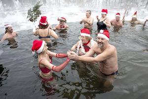 """Un grupo de bañistas disfrutaron del tradicional baño en aguas heladas en el lago Orankesee organizado por la asociación """"Berlin Seals"""" en Berlín."""