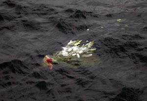 Los parientes de las víctimas arrojaron flores al mar y se abrazaron mientras contemplaban la ceremonia desde un transbordador especial que se mecía entre las olas bajo un cielo parcialmente encapotado.