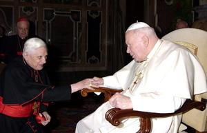 Benedicto XVI, como Cardenal participó en los Cónclaves de 1978 de los cuales salieron electos los Papas Juan Pablo I y Juan Pablo II, quien en 1981 lo eligió como prefecto de la Congregación para la Doctrina de la Fe.