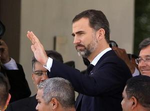 El príncipe Felipe de Borbón de España asistió al funeral de Hugo Chávez.