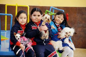 Valeria con su mascota Mimí, Romina con su mascota Petit y Hanna con su mascota Tohuito.