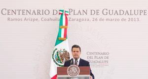 Al encabezar en la Hacienda de Guadalupe la ceremonia por el Centenario de la Promulgación del Plan de Guadalupe, el mandatario asentó que hoy el desafío es hacer una realidad todos los derechos contenidos en la Constitución.